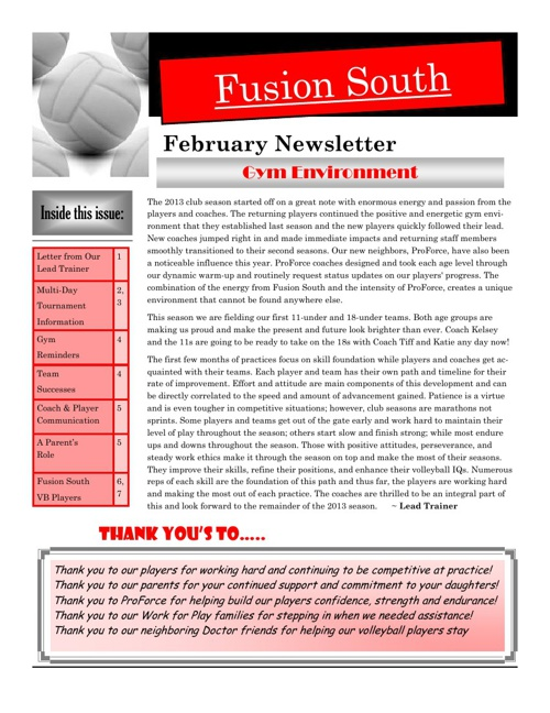 Fusion-South February Newsletter