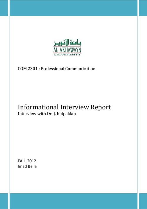 Informational Interview with J. Kalpakian