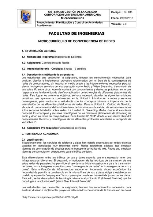 Microcurriculo Convergencia de Redes