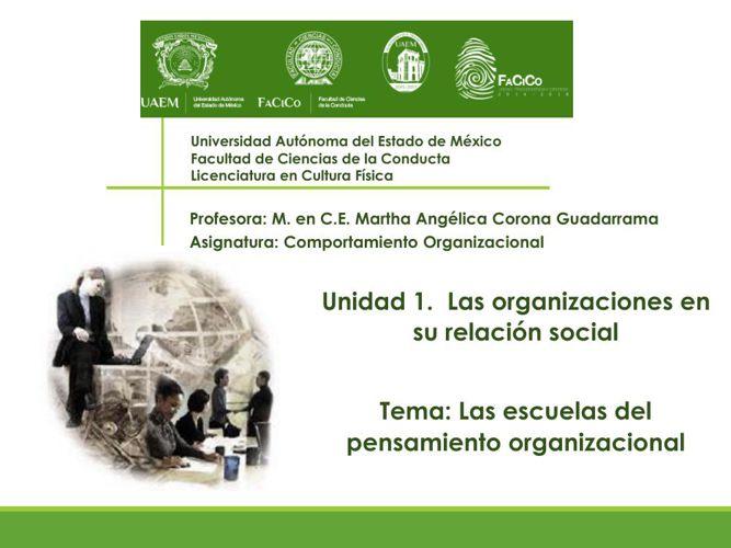 Las organizaciones en su relación social- Escuelas que han contr