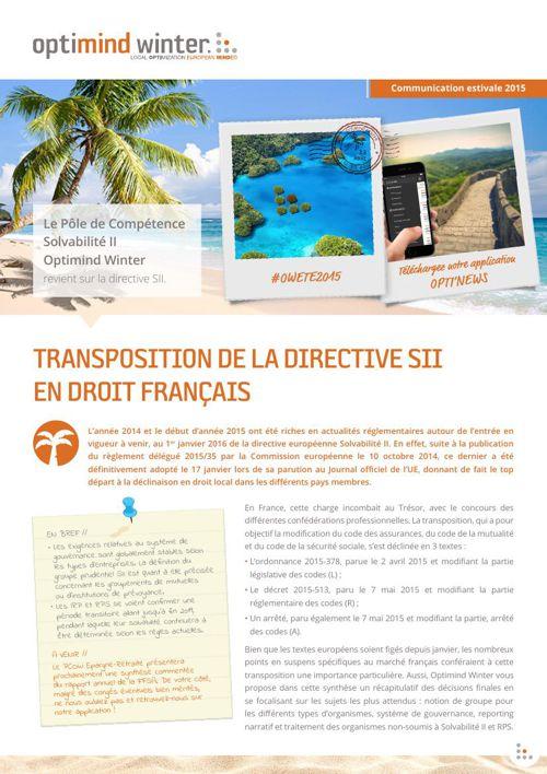 Optimind Winter - PCOW // La directive SII en droit français
