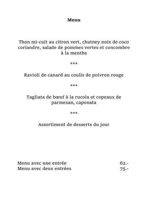 Copy of Carte restaurant Les 3 Couronnes à Martigny