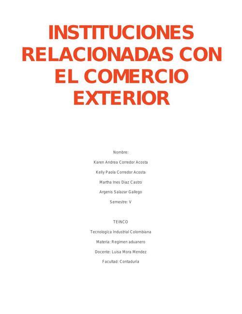 Instituciones relacionadas con el comercio exterior