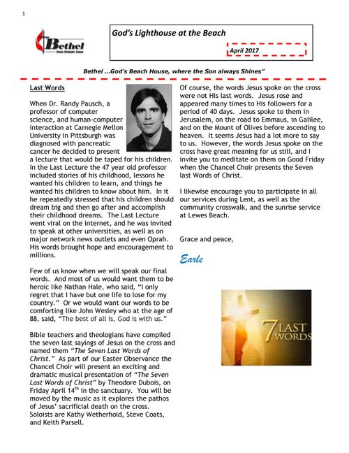 Bethel April 2017 Newsletter