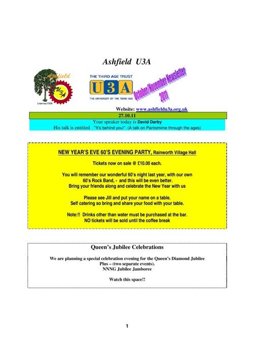 AU3A newsletter for October 2011