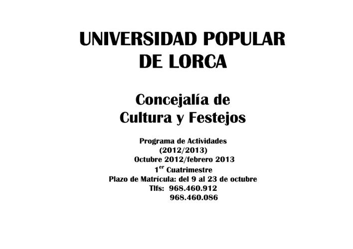 Universidad Popular: Programa de actividades y cursos