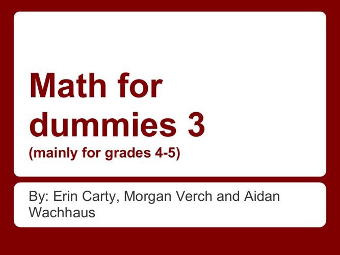 Math for Dummies 3