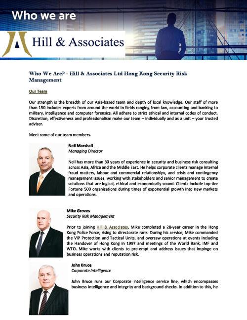 Hill & Associates Ltd Hong Kong Security Risk Management: WHO WE
