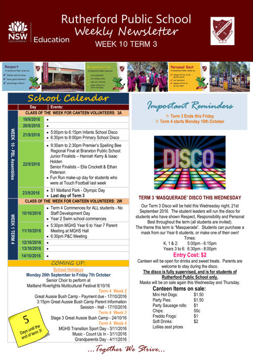 Rutherford Public School Term 3 Week 10 2016 Newsletter