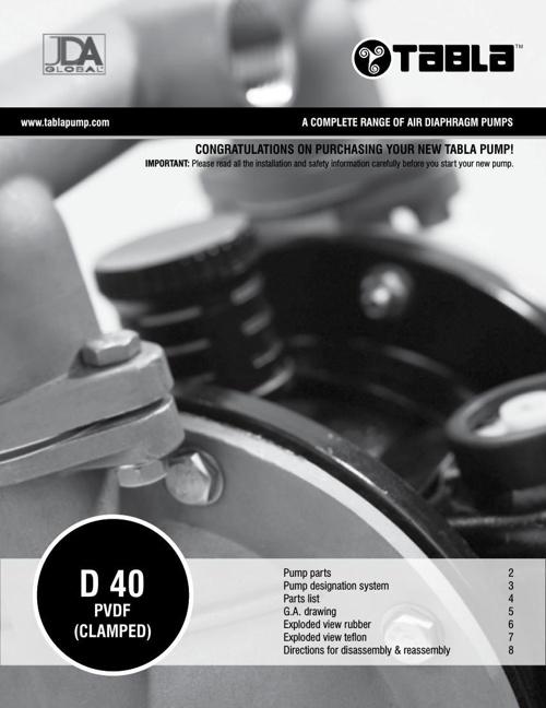 "Tabla 1 1/2"" (40mm) Polyvinylidene Fluoride (PVDF) Clamped"