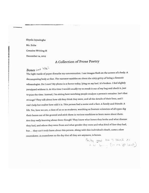 Prose Poetry Edits