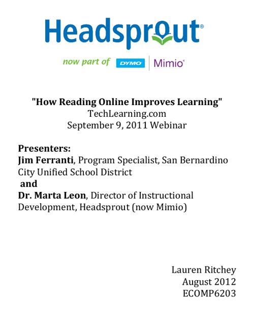 """Webinar: """"How Reading Online Improves Learning"""""""