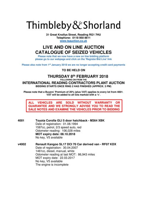 Seized Vehicle Auction Catalogue