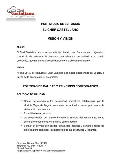 Flipsnack manual de by restaurante chef castellano for Ejemplo de manual de procedimientos de un restaurante
