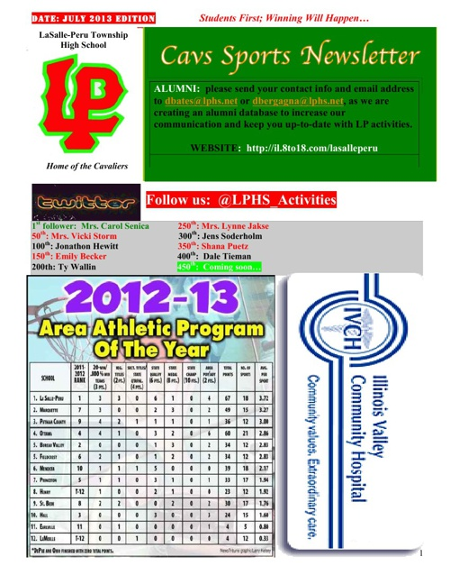 Cavs Sports Newsletter (August Edition 2013)