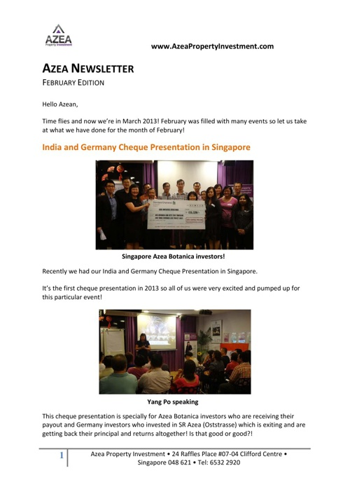 Azea Newsletter February 2013