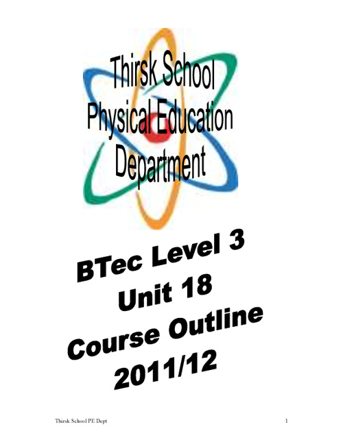 BTEC Unit 18 Course Outline and Assignment Brief