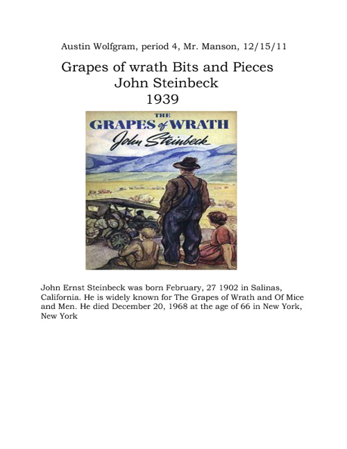 Grapes Of Wrath Bits and Pieces
