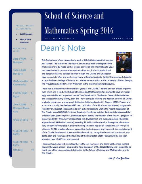 Citadel SSM Spring 2016 Newsletter