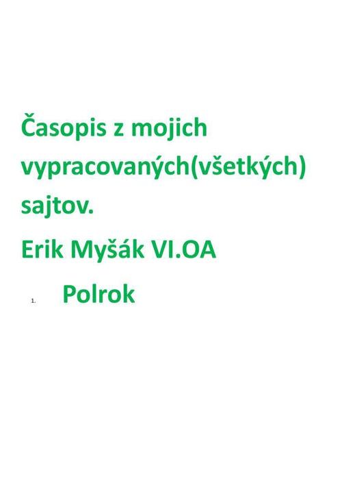 Časopis z mojich sajto za I. Polrok