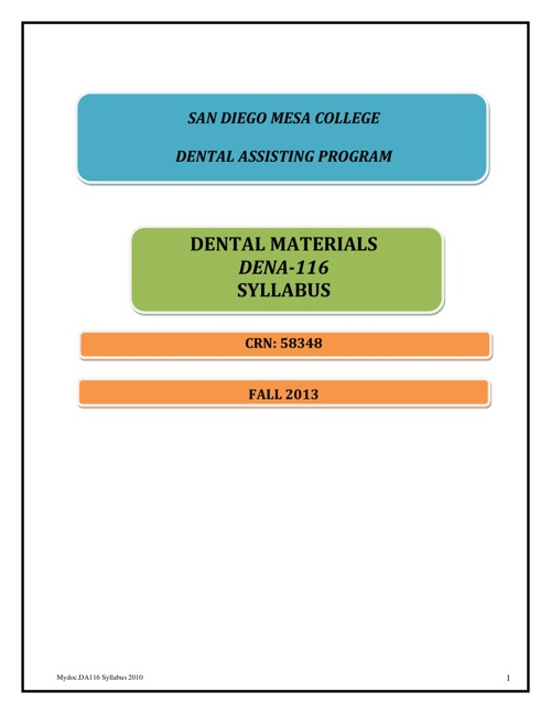 Dental Materials Syllabus DENA 116