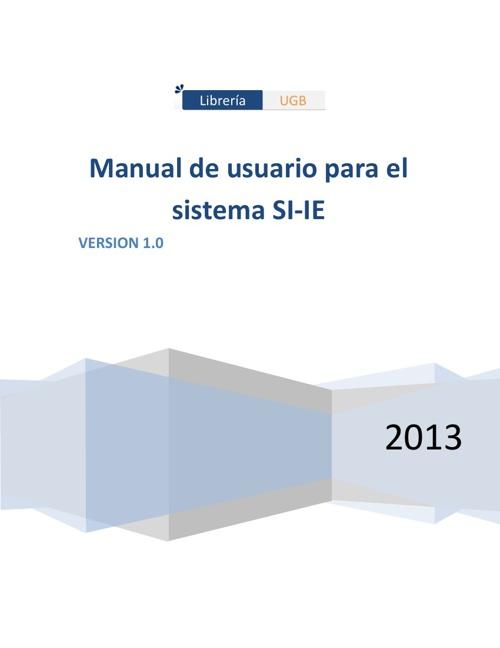 Manual de usuario SI-IE UGB2013