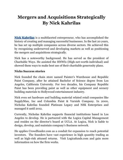 Mergers and Acquisitions Strategically By Nick Kahrilas