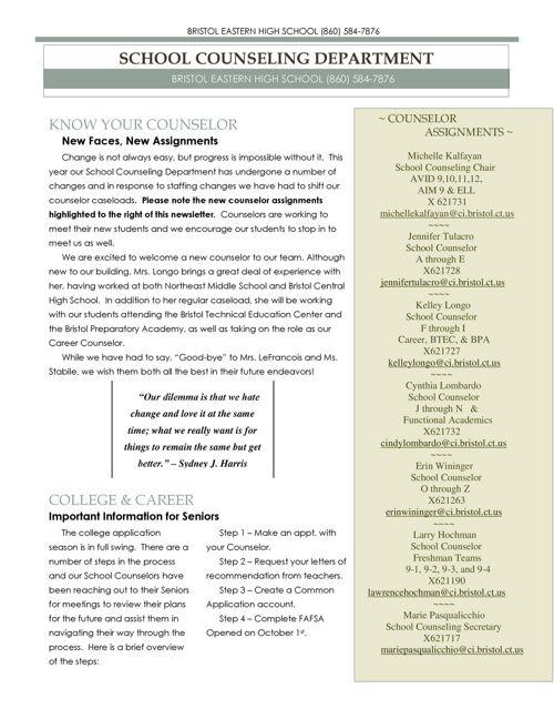 Guidance Newsletter