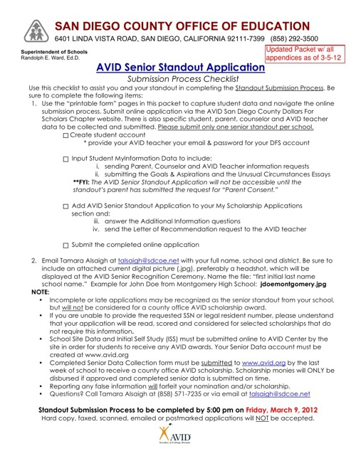2012 SDCOE/AVID Senior Standout Application Packet