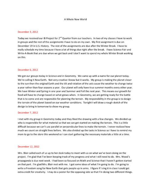 A Whole New World Process Journal