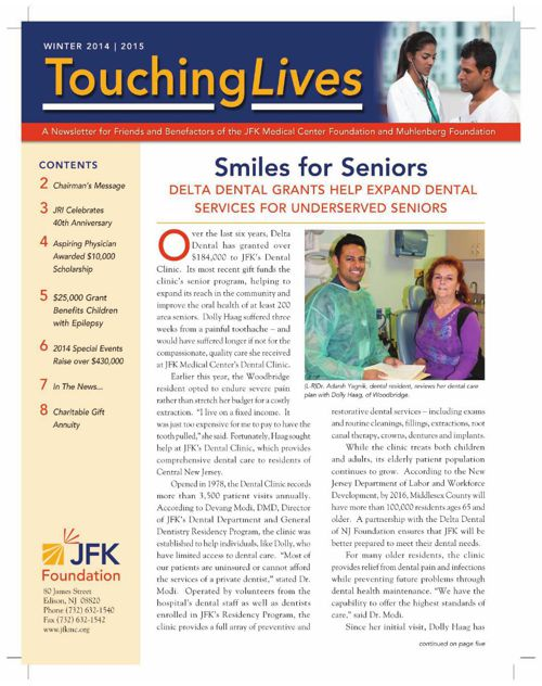 Touching Lives Newsletter. Winter 2014