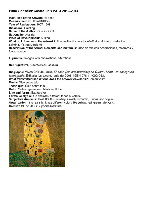 ANALYSIS OF ARTWORK  BIMESTER 1