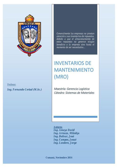 Unefa-Maestria2014-SistemasMateriales-InventarioMantenimiento