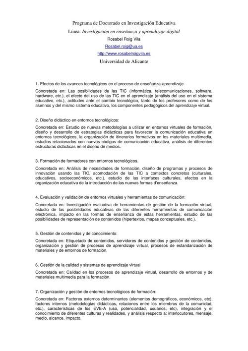 LÍNEAS DE INVESTIGACIÓN TIC Y EDUCACIÓN
