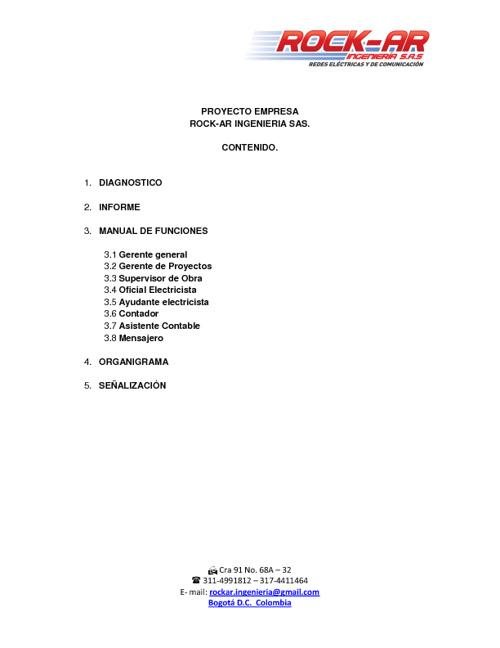 DIAGNOSTICO, INFORME,MANUALES DE FUNCIONES