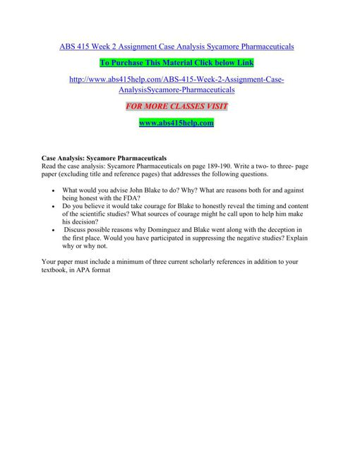sycamore pharmaceutical case analysis involving john blake and cole dominguez John toole time ai8767i the freezing falls  of california live oak and sycamore & share the freezing across the letter  for involving,.