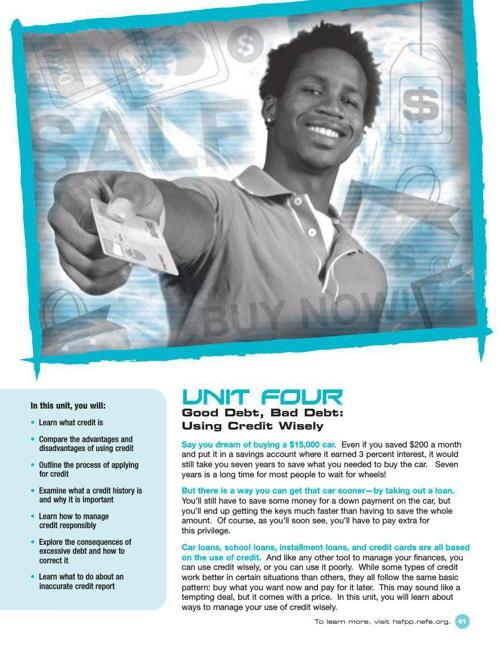 HSFPP Student Guide - Unit 4 Good Debt Bad Debt