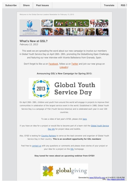 Global Service Leaders Newsletters