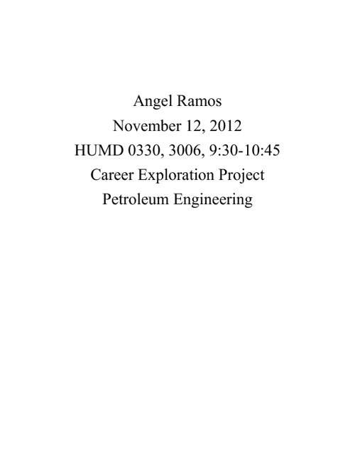 Angel Ramos Career Exploration Project