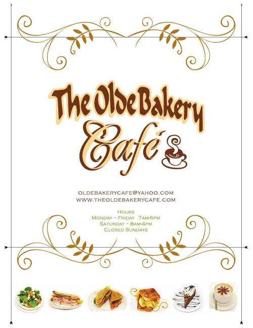 The Olde Bakery Cafe Menu
