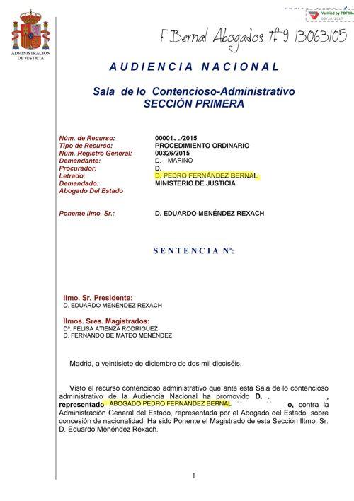 sentencia Audiencia Nacional  2017 estima recurso nacionalidad d