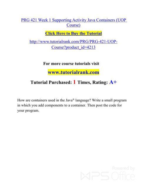 PRG 421 UOP Courses /TutorialRank