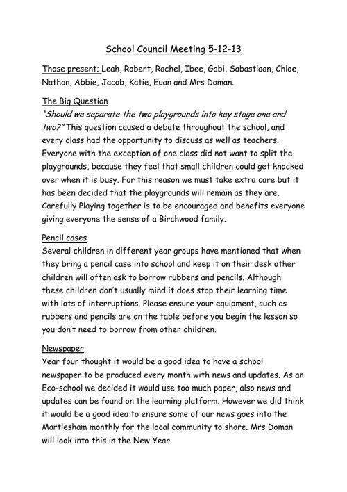 School Council Minutes 5th December 2013