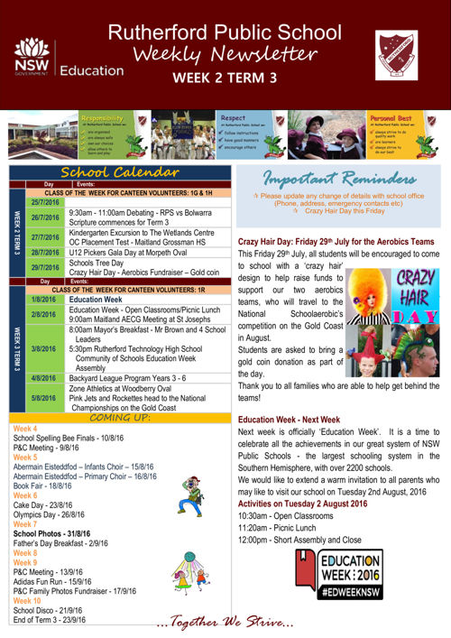 Rutherford Public School Term 3 Week  2 2016 Newsletter