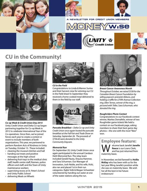 Unity Credit Union MoneyWise Newsletter Winter  2015