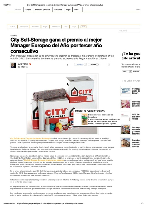 City SelfStorage Premio Mejor nManager 2012