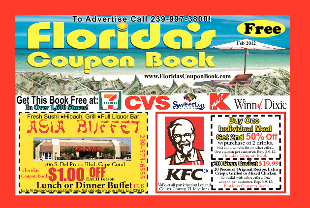 FLORIDAS COUPON BOOK FEB 2012. HOT ISSUE!
