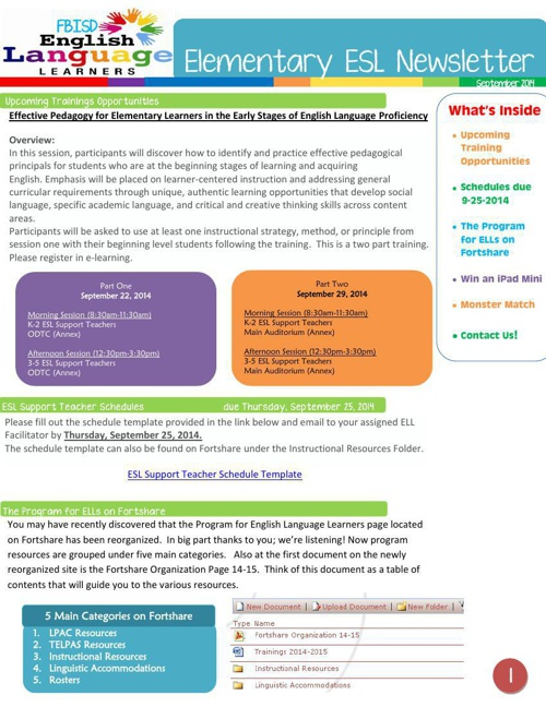 Elementary ESL Newsletter September 2014