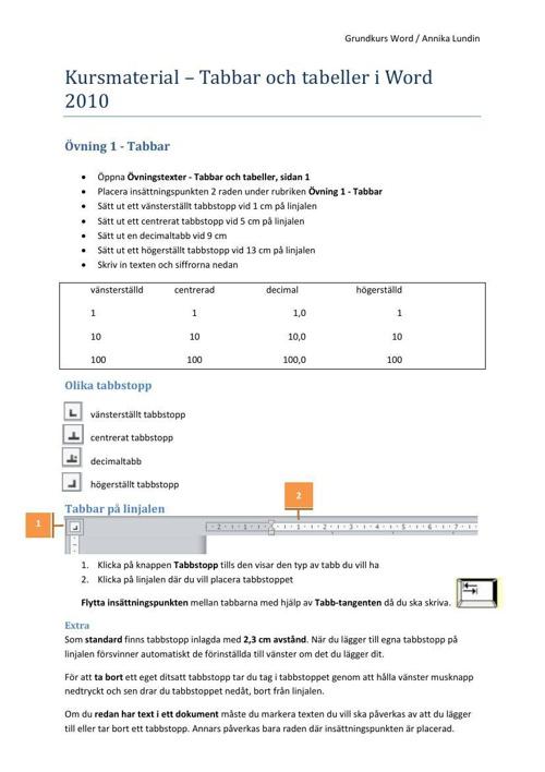 Kursmaterial - Tabbar och tabeller
