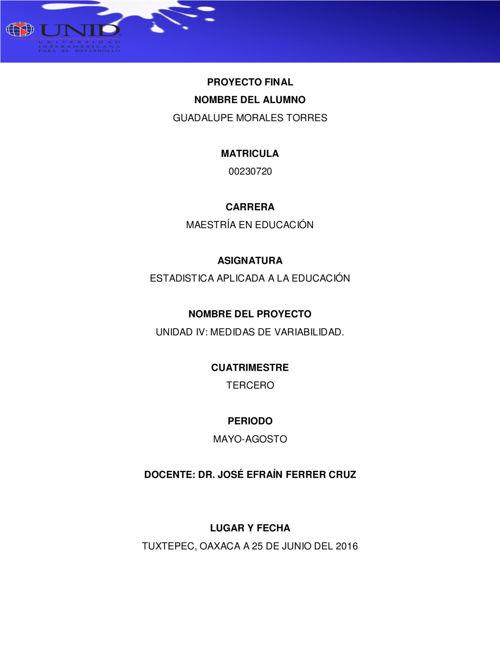 UNIDAD IV MEDIDAS DE VARIABILIDAD EN ESTADISTICA